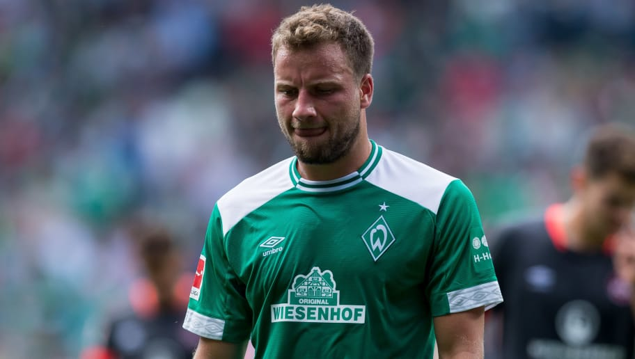 BREMEN, GERMANY - SEPTEMBER 16: Philipp Bargfrede of Werder Bremen looks on during the Bundesliga match between SV Werder Bremen and 1. FC Nuernberg at Weserstadion on September 16, 2018 in Bremen, Germany. (Photo by TF-Images/TF-Images via Getty Images)