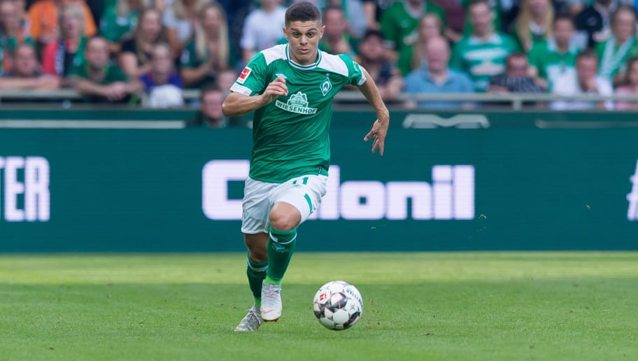 BREMEN, GERMANY - SEPTEMBER 16: Milot Rashica of Werder Bremen of controls the ball during the Bundesliga match between SV Werder Bremen and 1. FC Nuernberg at Weserstadion on September 16, 2018 in Bremen, Germany. (Photo by TF-Images/TF-Images via Getty Images)