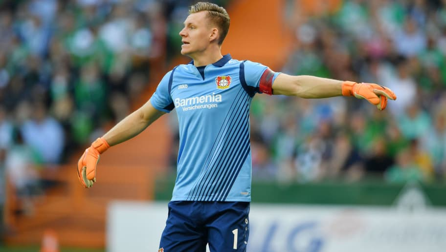BREMEN, GERMANY - MAY 05: Goalkeeper Bernd Leno of Leverkusen reacts during the Bundesliga match between SV Werder Bremen and Bayer 04 Leverkusen at Weserstadion on May 5, 2018 in Bremen, Germany. (Photo by Thomas Starke/Bongarts/Getty Images)