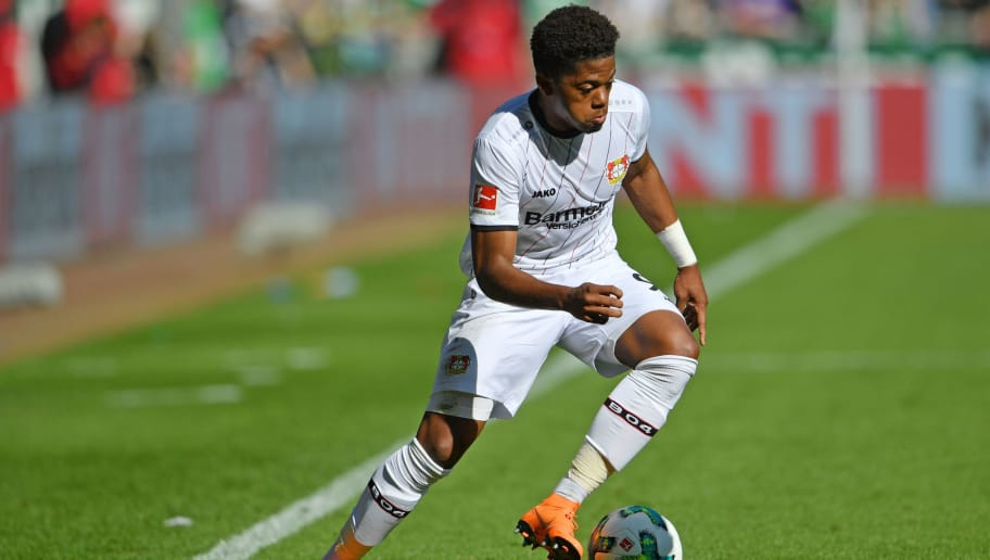 BREMEN, GERMANY - MAY 05: Leon Bailey of Leverkusen runs with the ball during the Bundesliga match between SV Werder Bremen and Bayer 04 Leverkusen at Weserstadion on May 5, 2018 in Bremen, Germany. (Photo by Thomas Starke/Bongarts/Getty Images)