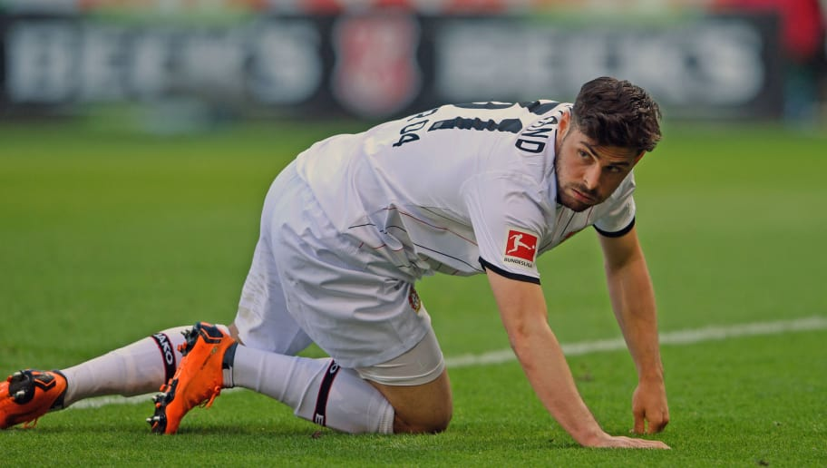 BREMEN, GERMANY - MAY 05: Kevin Volland of Leverkusen looks dejected during the Bundesliga match between SV Werder Bremen and Bayer 04 Leverkusen at Weserstadion on May 5, 2018 in Bremen, Germany. (Photo by Thomas Starke/Bongarts/Getty Images)