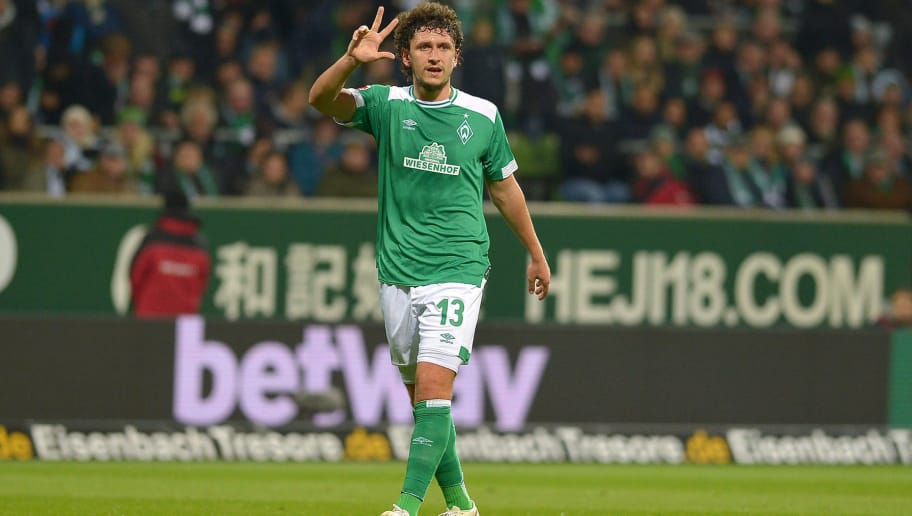 BREMEN, GERMANY - OCTOBER 28: Milos Veljkovic of Werder Bremen gestures during the Bundesliga match between SV Werder Bremen and Bayer 04 Leverkusen at Weserstadion on October 28, 2018 in Bremen, Germany. (Photo by TF-Images/Getty Images)