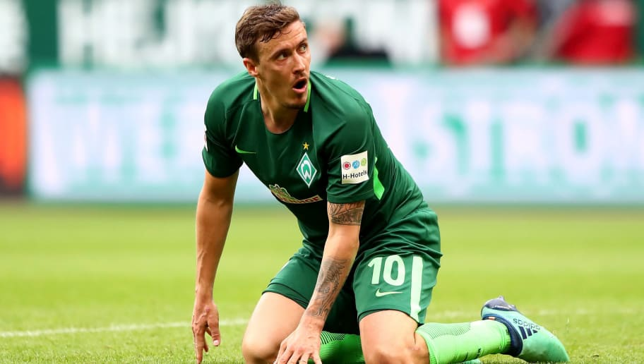 BREMEN, GERMANY - APRIL 29:  Max Kruse of Bremen reacts during the Bundesliga match between SV Werder Bremen and Borussia Dortmund at Weserstadion on April 29, 2018 in Bremen, Germany.  (Photo by Martin Rose/Bongarts/Getty Images)