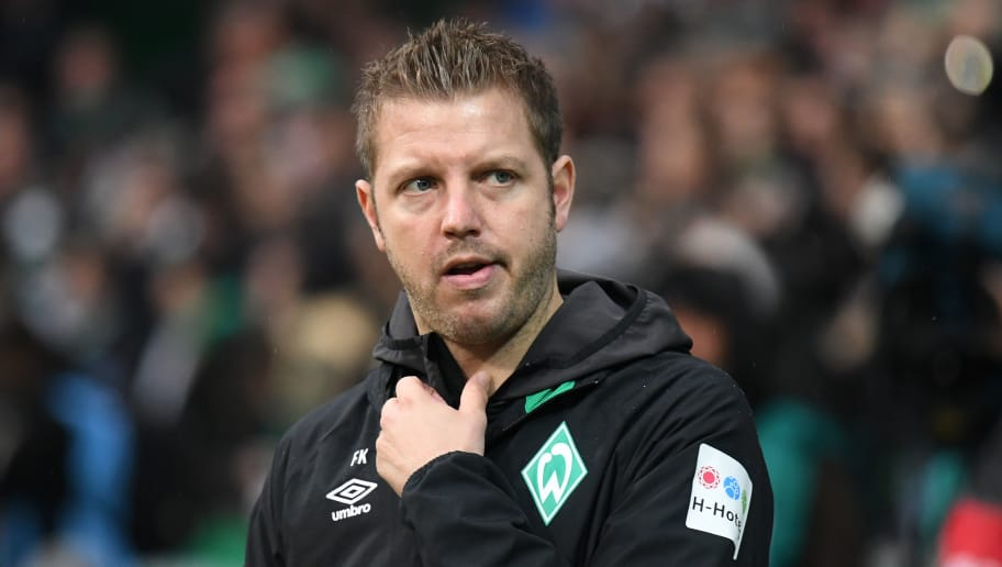 BREMEN, GERMANY - NOVEMBER 10: Head coach Florian Kohfeldt of SV Werder Bremen looks up prior to the Bundesliga match between SV Werder Bremen and Borussia Moenchengladbach at Weserstadion on November 10, 2018 in Bremen, Germany. (Photo by Oliver Hardt/Bongarts/Getty Images)