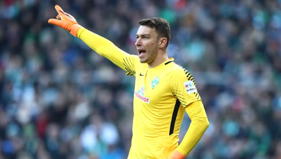 BREMEN, GERMANY - APRIL 01: Jiri Pavlenka of Bremen  gesticulated during the Bundesliga match between SV Werder Bremen and Eintracht Frankfurt at Weserstadion on April 1, 2018 in Bremen, Germany.  (Photo by Oliver Hardt/Bongarts/Getty Images)