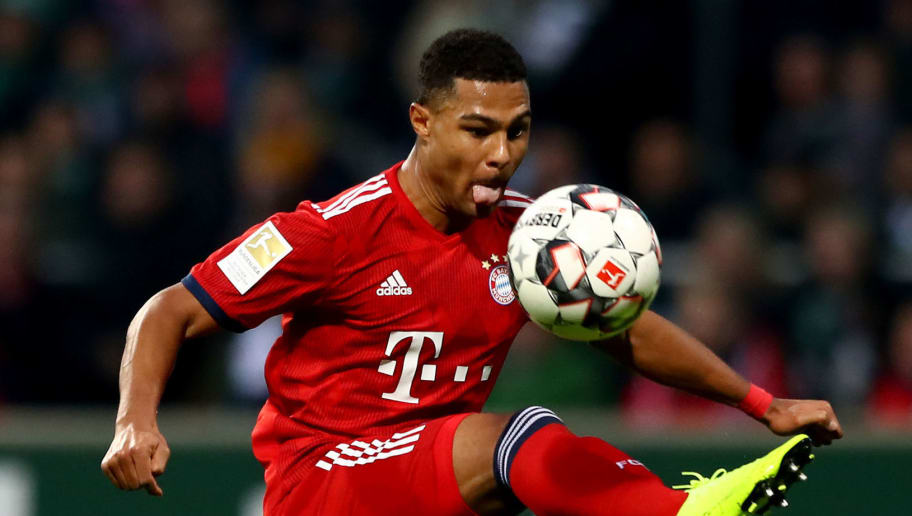 BREMEN, GERMANY - DECEMBER 01: Serge Gnabry of Muenchen runs with the ball during the Bundesliga match between SV Werder Bremen and FC Bayern Muenchen at Weserstadion on December 01, 2018 in Bremen, Germany. (Photo by Martin Rose/Bongarts/Getty Images)