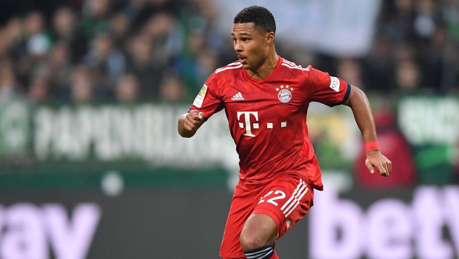BREMEN, GERMANY - DECEMBER 01:  Serge Gnabry of Muenchen in action during the Bundesliga match between SV Werder Bremen and FC Bayern Muenchen at Weserstadion on December 1, 2018 in Bremen, Germany.  (Photo by Stuart Franklin/Bongarts/Getty Images)
