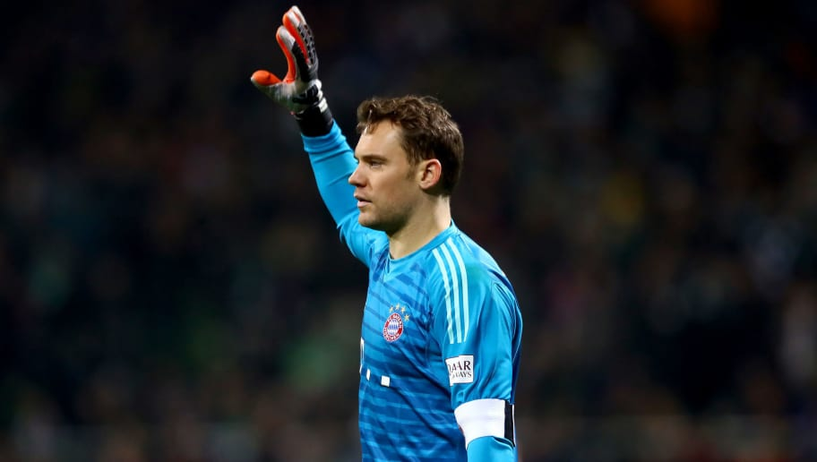 BREMEN, GERMANY - DECEMBER 01: Manuel Neur, goalkeeper of Muenchen reacts during the Bundesliga match between SV Werder Bremen and FC Bayern Muenchen at Weserstadion on December 01, 2018 in Bremen, Germany. (Photo by Martin Rose/Bongarts/Getty Images)