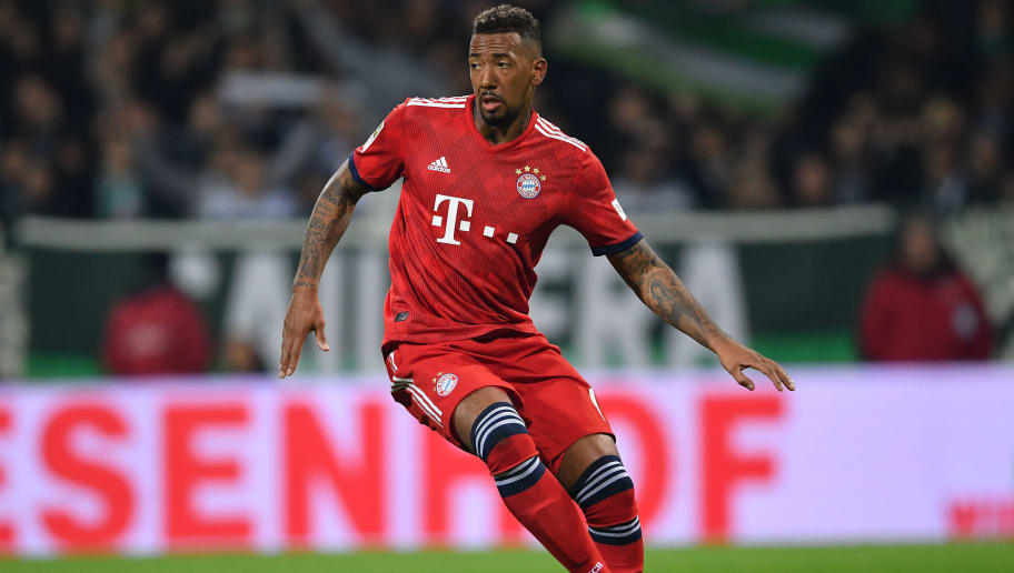 BREMEN, GERMANY - DECEMBER 01:  Jerome Boateng of Muenchen in action during the Bundesliga match between SV Werder Bremen and FC Bayern Muenchen at Weserstadion on December 1, 2018 in Bremen, Germany.  (Photo by Stuart Franklin/Bongarts/Getty Images)