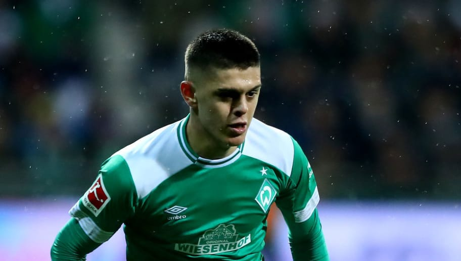 BREMEN, GERMANY - DECEMBER 07: Milot Rashica of Bremen runs with the ball during the Bundesliga match between SV Werder Bremen and Fortuna Duesseldorf at Weserstadion on December 07, 2018 in Bremen, Germany. (Photo by Martin Rose/Bongarts/Getty Images)