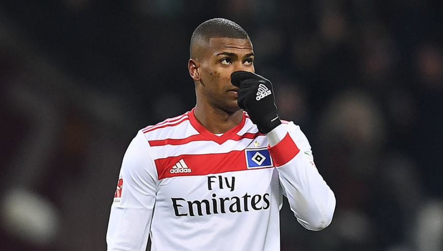 BREMEN, GERMANY - FEBRUARY 24: Walace of Hamburg looks dejected after the Bundesliga match between SV Werder Bremen and Hamburger SV at Weserstadion on February 24, 2018 in Bremen, Germany. (Photo by Lukas Schulze/Bongarts/Getty Images)