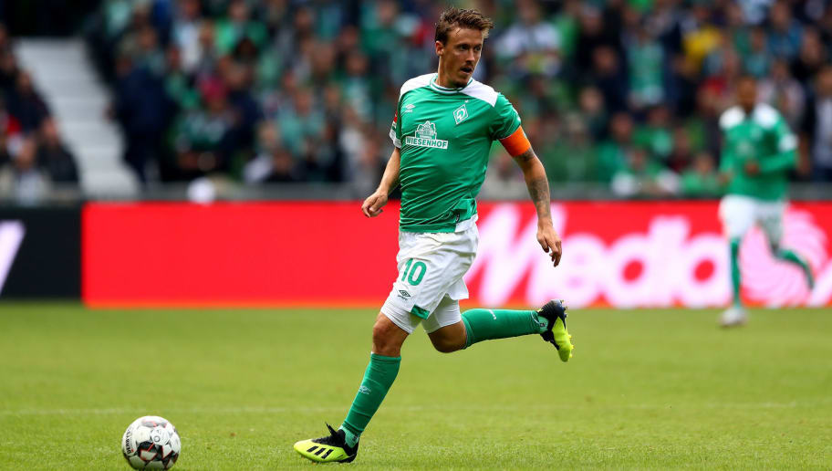 BREMEN, GERMANY - AUGUST 25:  Max Kruse of Bremen runs with the ball during the Bundesliga match between SV Werder Bremen and Hannover 96 at Weserstadion on August 25, 2018 in Bremen, Germany.  (Photo by Martin Rose/Bongarts/Getty Images)