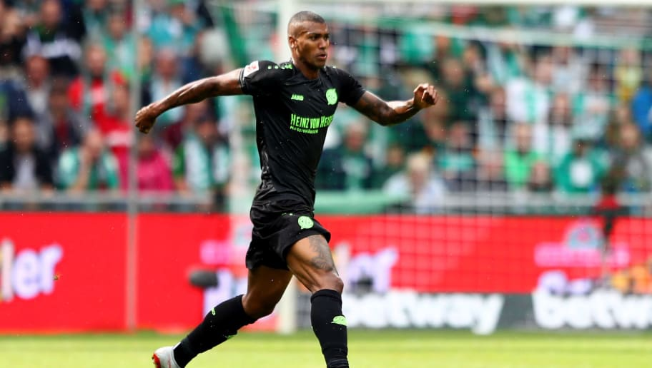 BREMEN, GERMANY - AUGUST 25:  Walace of Hannover runs with the ball during the Bundesliga match between SV Werder Bremen and Hannover 96 at Weserstadion on August 25, 2018 in Bremen, Germany.  (Photo by Martin Rose/Bongarts/Getty Images)