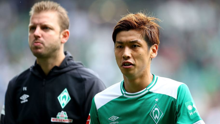 BREMEN, GERMANY - AUGUST 25:  Yuya Osako of Bremen reacts during the Bundesliga match between SV Werder Bremen and Hannover 96 at Weserstadion on August 25, 2018 in Bremen, Germany.  (Photo by Martin Rose/Bongarts/Getty Images)