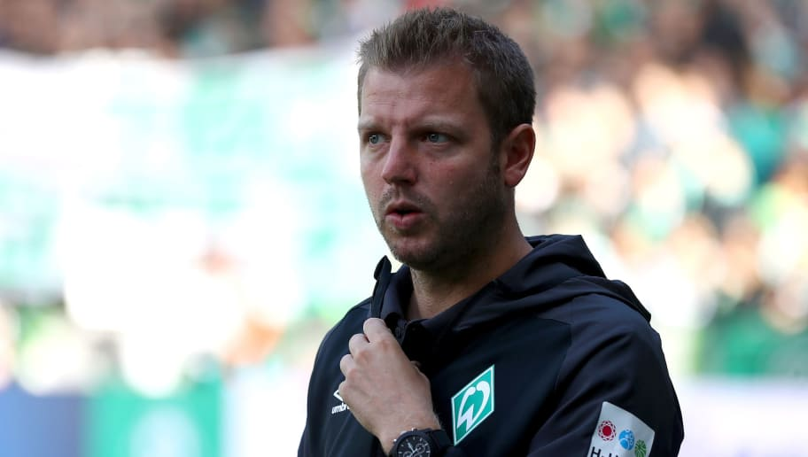 BREMEN, GERMANY - AUGUST 25:  Florian Kohfeldt, Manager of Werder Bremen looks on prior to the Bundesliga match between SV Werder Bremen and Hannover 96 at Weserstadion on August 25, 2018 in Bremen, Germany.  (Photo by Martin Rose/Bongarts/Getty Images)