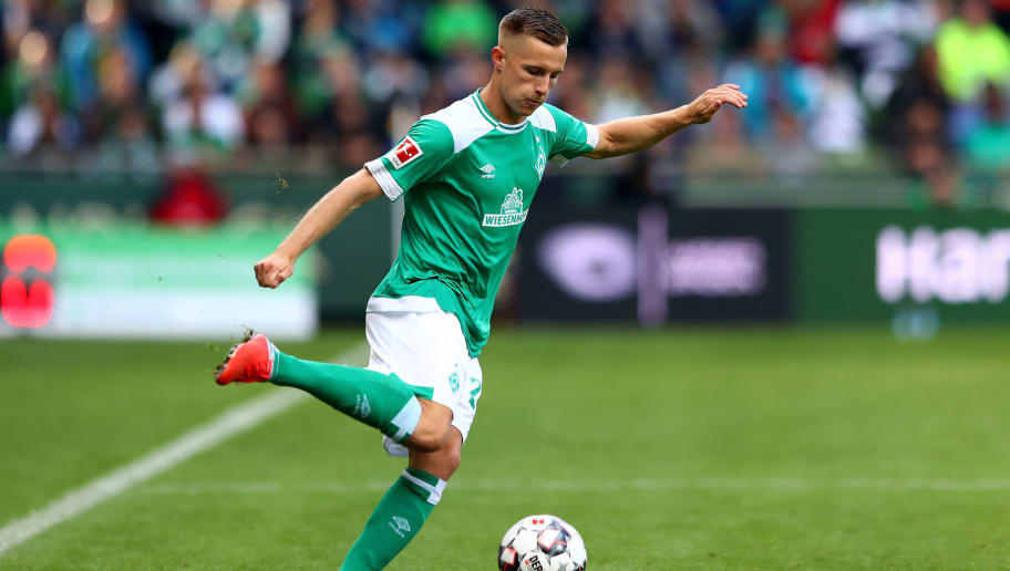 BREMEN, GERMANY - AUGUST 25: Johannes Eggestein of Bremen runs with the ball during the Bundesliga match between SV Werder Bremen and Hannover 96 at Weserstadion on August 25, 2018 in Bremen, Germany.  (Photo by Martin Rose/Bongarts/Getty Images)