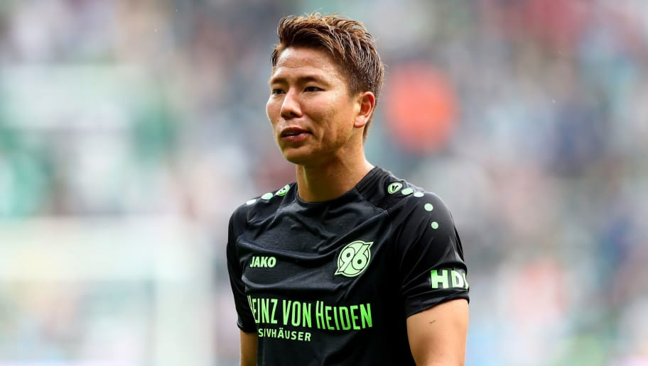 BREMEN, GERMANY - AUGUST 25:  Takuma Asano of Hannover runs during the Bundesliga match between SV Werder Bremen and Hannover 96 at Weserstadion on August 25, 2018 in Bremen, Germany.  (Photo by Martin Rose/Bongarts/Getty Images)