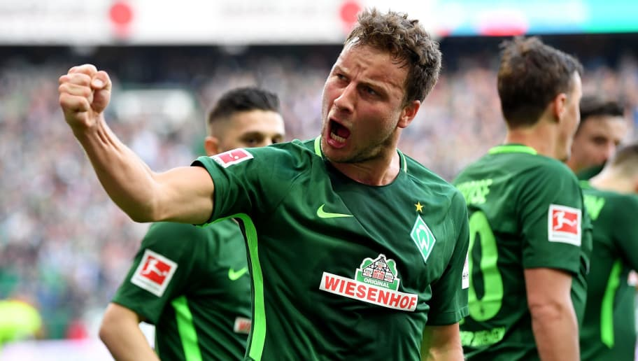 BREMEN, GERMANY - APRIL 15: Philipp Bargfrede of Bremen celebrates the opening goal during the Bundesliga match between SV Werder Bremen and RB Leipzig at Weserstadion on April 15, 2018 in Bremen, Germany.  (Photo by Stuart Franklin/Bongarts/Getty Images)