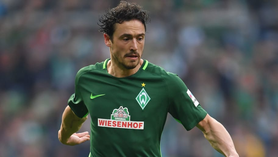BREMEN, GERMANY - APRIL 15:  Thomas Delaney of Bremen in action during the Bundesliga match between SV Werder Bremen and RB Leipzig at Weserstadion on April 15, 2018 in Bremen, Germany.  (Photo by Stuart Franklin/Bongarts/Getty Images)