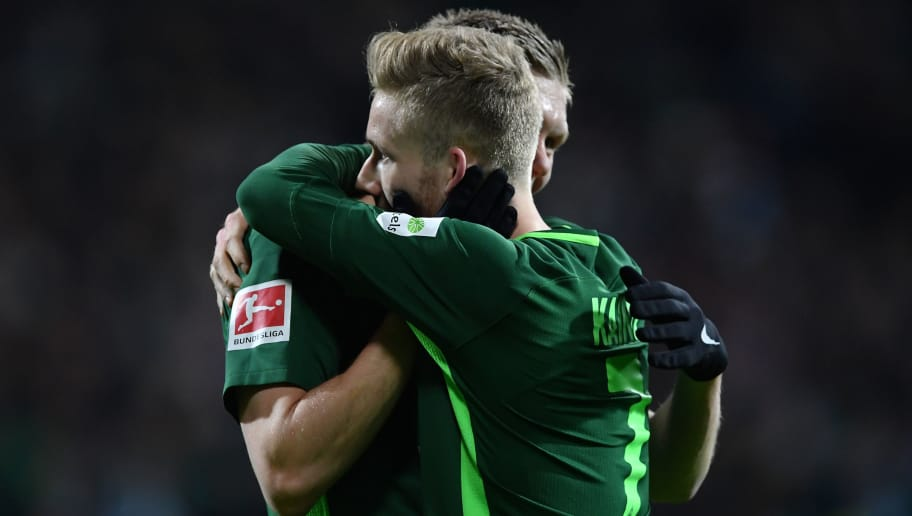 BREMEN, GERMANY - FEBRUARY 11:  Florian Kainz of Bremen celebrates scoring his goal during the Bundesliga match between SV Werder Bremen and VfL Wolfsburg at Weserstadion on February 11, 2018 in Bremen, Germany.  (Photo by Stuart Franklin/Bongarts/Getty Images)
