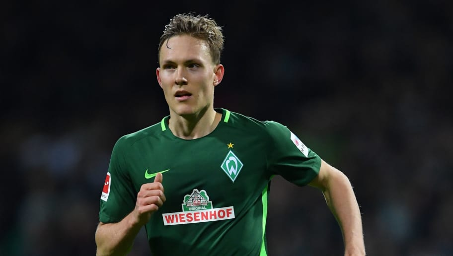 BREMEN, GERMANY - FEBRUARY 11:  Ludwig Augustinsson of Bremen in action during the Bundesliga match between SV Werder Bremen and VfL Wolfsburg at Weserstadion on February 11, 2018 in Bremen, Germany.  (Photo by Stuart Franklin/Bongarts/Getty Images)