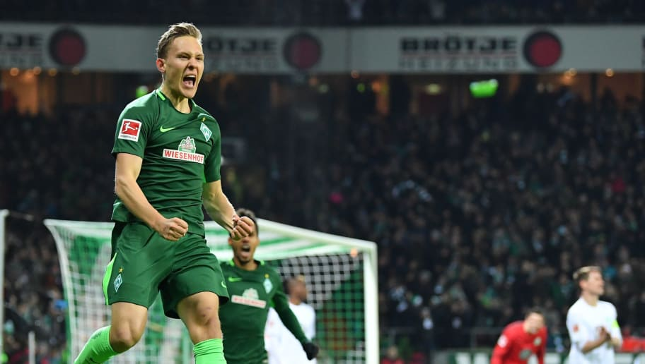 BREMEN, GERMANY - FEBRUARY 11:  Ludwig Augustinsson of Bremen celebrates scoring his goal during the Bundesliga match between SV Werder Bremen and VfL Wolfsburg at Weserstadion on February 11, 2018 in Bremen, Germany.  (Photo by Stuart Franklin/Bongarts/Getty Images)