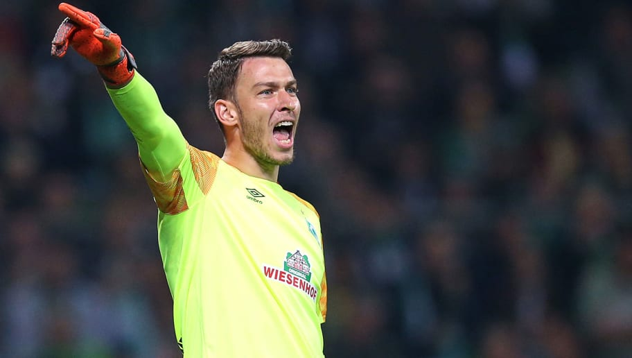 BREMEN, GERMANY - OCTOBER 05: Jiri Pavlenka, goalkeeper gestures during the Bundesliga match between SV Werder Bremen and VfL Wolfsburg at Weserstadion on October 5, 2018 in Bremen, Germany. (Photo by Cathrin Mueller/Bongarts/Getty Images)
