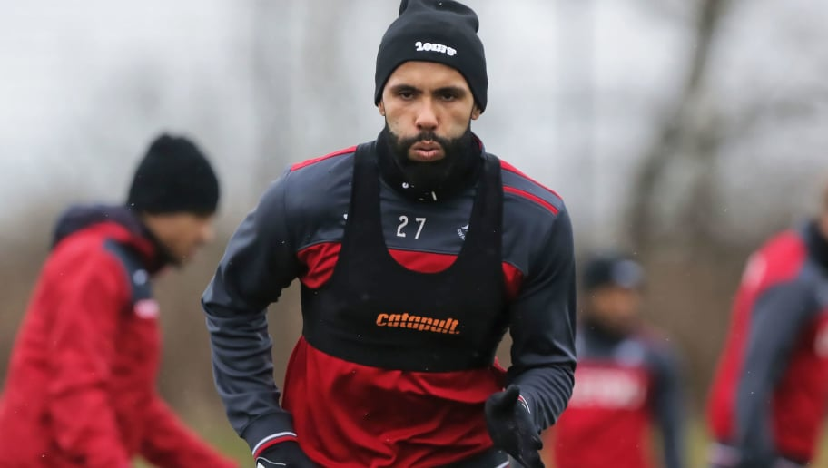 SWANSEA, WALES - MARCH 29: Kyle Bartley in action during the Swansea City Training Session and Press Conference at The Fairwood Training Ground on March 29, 2018 in Swansea, Wales. (Photo by Athena Pictures/Getty Images)