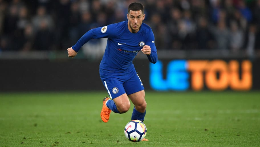 SWANSEA, WALES - APRIL 28:  Chelsea player Eden Hazard in action during the Premier League match between Swansea City and Chelsea at Liberty Stadium on April 28, 2018 in Swansea, Wales.  (Photo by Stu Forster/Getty Images)