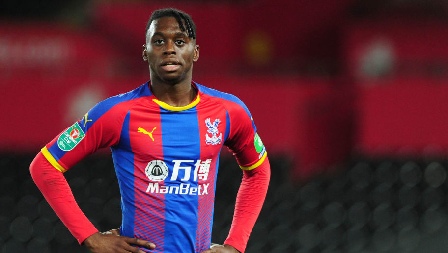 SWANSEA, WALES - AUGUST 28: Aaron Wan-Bissaka of Crystal Palace looks on during the Carabao Cup Second Round match between Swansea City and Crystal Palace at Liberty Stadium on August 28, 2018 in Swansea, Wales. (Photo by Athena Pictures/Getty Images)