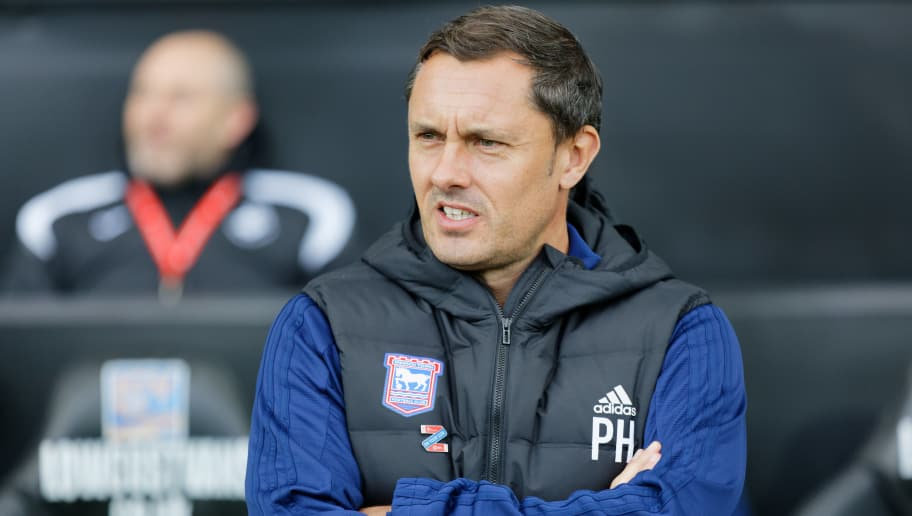 SWANSEA, WALES - OCTOBER 06: Ipswich Town Manager Paul Hurst stands in the technical area during the Sky Bet Championship match between Swansea City and Ipswich Town at the Liberty Stadium on October 06, 2018 in Swansea, Wales. (Photo by Athena Pictures/Getty Images)