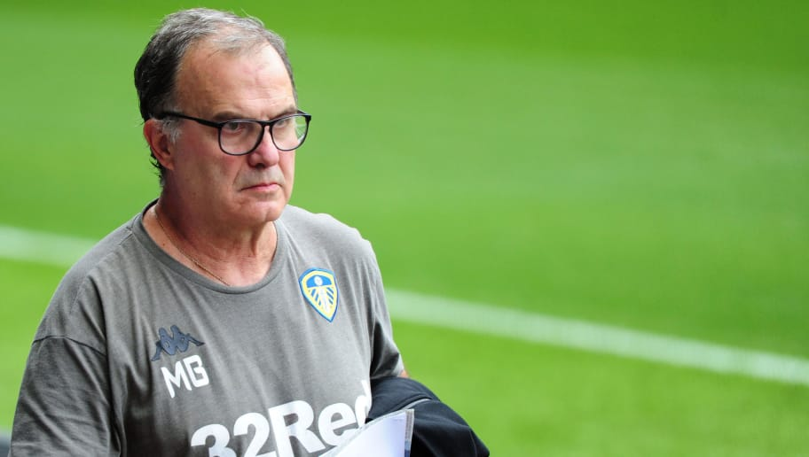 SWANSEA, WALES - AUGUST 21: Leeds United manager Marcelo Bielsa arrives for the Sky Bet Championship match between Swansea City and Leeds United at the Liberty Stadium on August 21, 2018 in Swansea, Wales. (Photo by Athena Pictures/Getty Images)