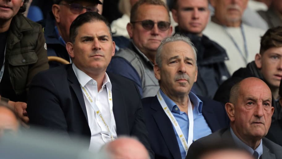 SWANSEA, WALES - SEPTEMBER 10: (L-R) Swansea owners Jason Levien and Steve Kaplan watch the game from the stand during the Premier League match between Swansea City and Newcastle United at The Liberty Stadium on September 10, 2017 in Swansea, Wales. (Photo by Athena Pictures/Getty Images)