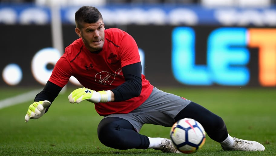 SWANSEA, WALES - MAY 08:  Fraser Forster of Southampton warms up during the Premier League match between Swansea City and Southampton at Liberty Stadium on May 8, 2018 in Swansea, Wales.  (Photo by Stu Forster/Getty Images)