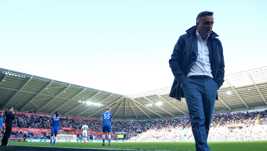 SWANSEA, WALES - MAY 13:  Carlos Carvalhal, Manager of Swansea City looks on during the Premier League match between Swansea City and Stoke City at Liberty Stadium on May 13, 2018 in Swansea, Wales.  (Photo by Dan Mullan/Getty Images)