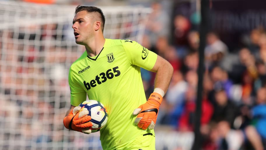 SWANSEA, WALES - MAY 13: Jack Butland of Stoke City during the Premier League match between Swansea City and Stoke City at Liberty Stadium on May 13, 2018 in Swansea, Wales. (Photo by James Williamson - AMA/Getty Images)