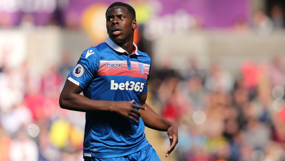 SWANSEA, WALES - MAY 13: Kurt Zouma of Stoke City during the Premier League match between Swansea City and Stoke City at Liberty Stadium on May 13, 2018 in Swansea, Wales. (Photo by James Williamson - AMA/Getty Images)