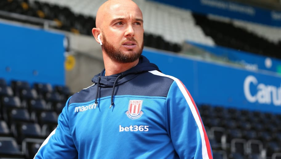 SWANSEA, WALES - MAY 13: Stephen Ireland of Stoke City during the Premier League match between Swansea City and Stoke City at Liberty Stadium on May 13, 2018 in Swansea, Wales. (Photo by James Williamson - AMA/Getty Images)