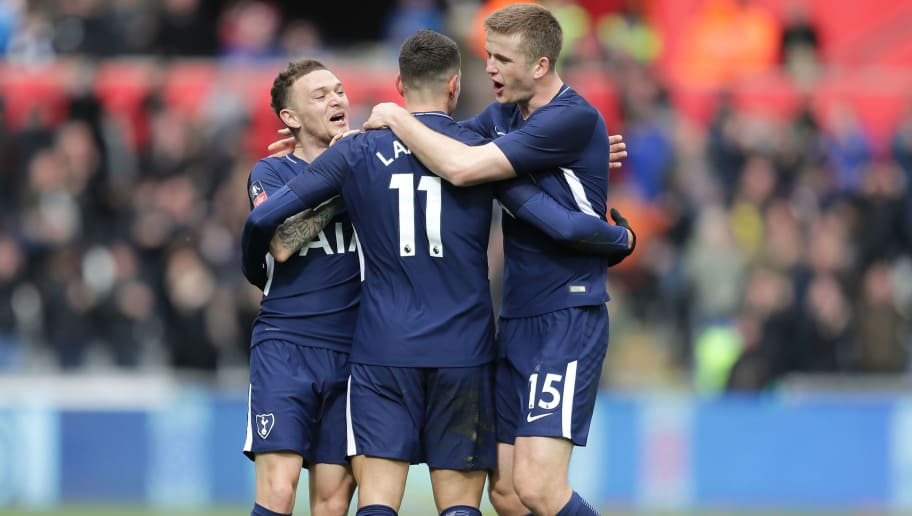 SWANSEA, WALES - MARCH 17:  Erik Lamela of Tottenham Hotspur celebrates with teammates Kieran Trippier and Eric Dier after scoring his sides second goal during The Emirates FA Cup Quarter Final match between Swansea City and Tottenham Hotspur at Liberty Stadium on March 17, 2018 in Swansea, Wales.  (Photo by Richard Heathcote/Getty Images)