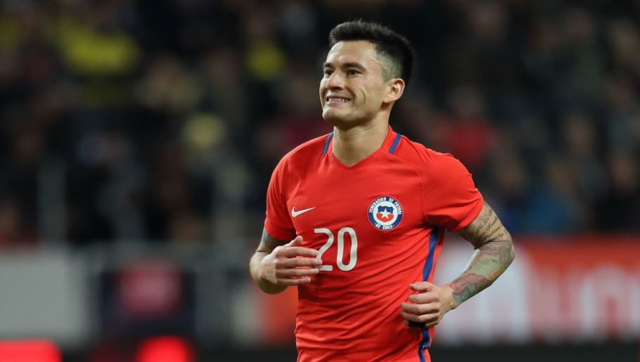 SOLNA, SWEDEN - MARCH 24: Charles Aranguiz of Chile during the International Friendly match between Sweden and Chile at Friends arena on March 24, 2018 in Solna, Sweden. (Photo by Matthew Ashton - AMA/Getty Images)