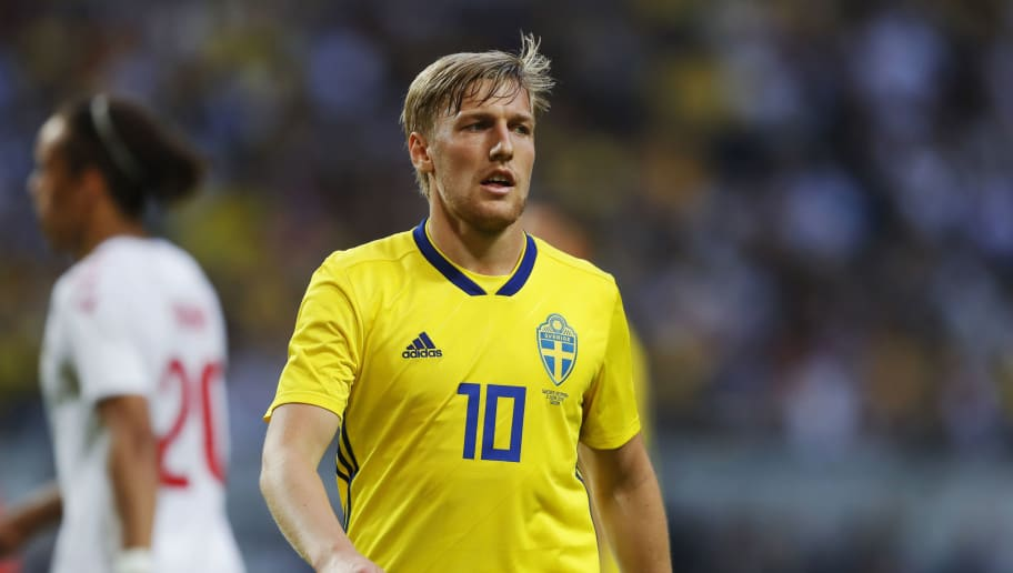 STOCKHOLM, SWEDEN - JUNE 02: Emil Forsberg of Sweden during the International Friendly match between Sweden and Denmark at Friends Arena on June 2, 2018 in Solna, Sweden. (Photo by Nils Petter Nilsson/Ombrello/Getty Images)