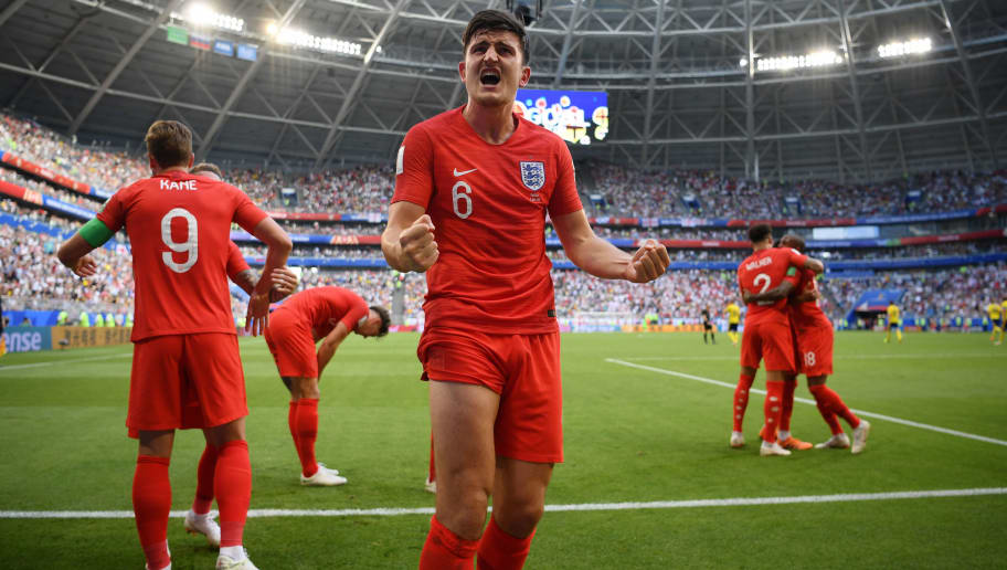 SAMARA, RUSSIA - JULY 07:  Harry Maguire of England celebrates with teammates after scoring his team's first goal during the 2018 FIFA World Cup Russia Quarter Final match between Sweden and England at Samara Arena on July 7, 2018 in Samara, Russia.  (Photo by Matthias Hangst/Getty Images)