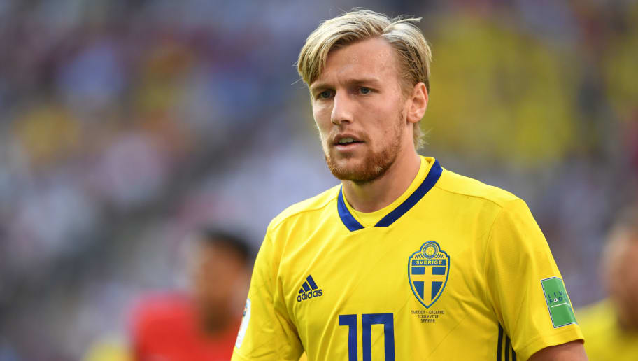 SAMARA,RUSSIA - JULY 7: Emil Forsberg of Sweden looks on during the 2018 FIFA World Cup Russia Quarter Final match between Sweden and England at Samara Arena on July 7, 2018 in Samara, Russia. (Photo by Etsuo Hara/Getty Images)