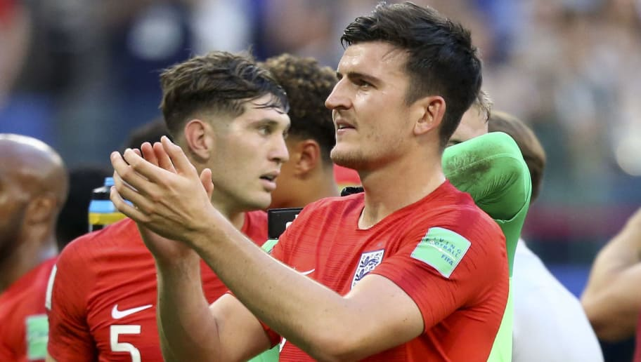 SAMARA, RUSSIA - JULY 7: Harry Maguire of England celebrates the victory with teammates following the 2018 FIFA World Cup Russia Quarter Final match between Sweden and England at Samara Arena on July 7, 2018 in Samara, Russia. (Photo by Jean Catuffe/Getty Images)
