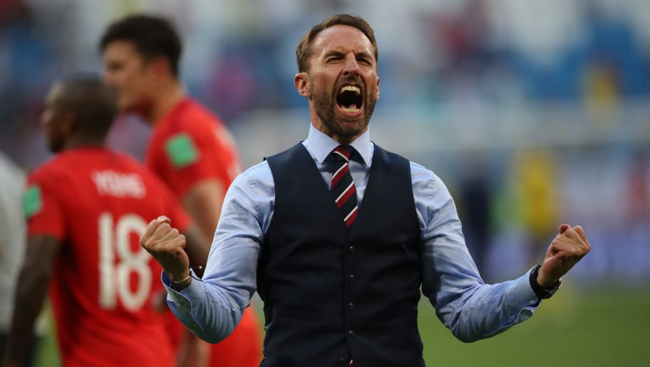 SAMARA, RUSSIA - JULY 07:  England manager Gareth Southgate celebrates during the 2018 FIFA World Cup Russia Quarter Final match between Sweden and England at Samara Arena on July 7, 2018 in Samara, Russia. (Photo by Ian MacNicol/Getty Images)