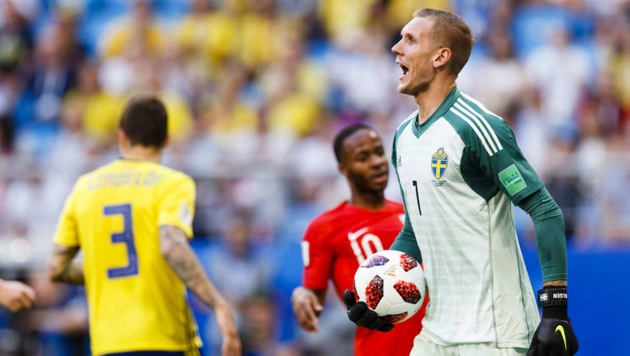 SAMARA, RUSSIA - JULY 7: Goalkeeper Robin Olsen #1 of Sweden with the ball in his hand during the 2018 FIFA World Cup Russia Quarter Final match between Sweden and England at Samara Arena on July 7, 2018 in Samara, Russia. (Photo by Daniel Malmberg/Getty Images)