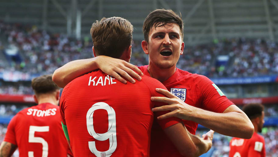 SAMARA, RUSSIA - JULY 07:  Harry Maguire of England celebrates with harry Kane after he scores during the 2018 FIFA World Cup Russia Quarter Final match between Sweden and England at Samara Arena on July 7, 2018 in Samara, Russia. (Photo by Ian MacNicol/Getty Images)