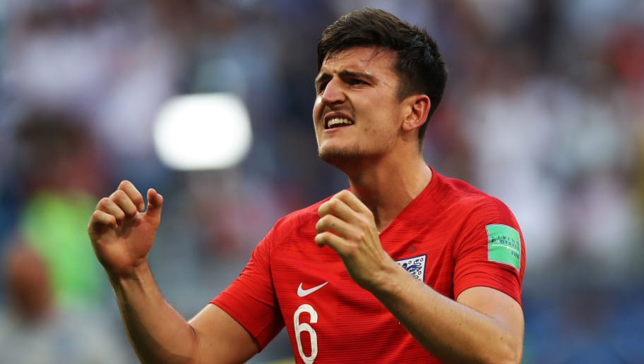 SAMARA, RUSSIA - JULY 07: Harry Maguire of England is seen during the 2018 FIFA World Cup Russia Quarter Final match between Sweden and England at Samara Arena on July 7, 2018 in Samara, Russia. (Photo by Ian MacNicol/Getty Images)