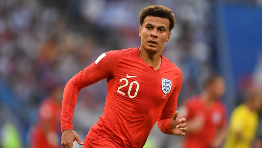 SAMARA, RUSSIA - JULY 07:  Dele Alli of England in action during the 2018 FIFA World Cup Russia Quarter Final match between Winner Game 55 and Winner Game 56 at Samara Arena on July 7, 2018 in Samara, Russia.  (Photo by Etsuo Hara/Getty Images)