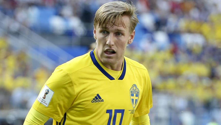 NIZHNIY NOVGOROD, RUSSIA - JUNE 18: Emil Forsberg of Sweden during the 2018 FIFA World Cup Russia group F match between Sweden and Korea Republic at Nizhniy Novgorod Stadium on June 18, 2018 in Nizhniy Novgorod, Russia. (Photo by Jean Catuffe/Getty Images)